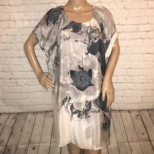 Leifsdottir silk dress floral gray 6 NWT